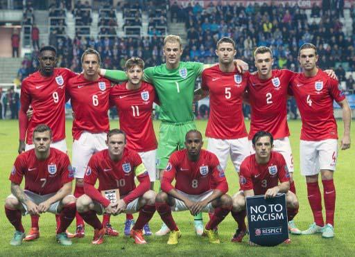 Die englische Nationalmannschaft im Oktober 2014 gegen Estland (AFP PHOTO / RAIGO PAJULA)