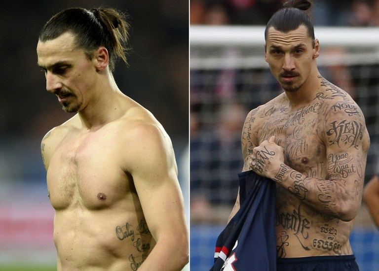 Schwedens Superstar Zlatan Ibrahimovic mit seinen neuen Tatoos am 29. November 2014 (L) and am 14. Februar 2015 während eines Matches im Parc des Princes stadium in Paris.   AFP PHOTO