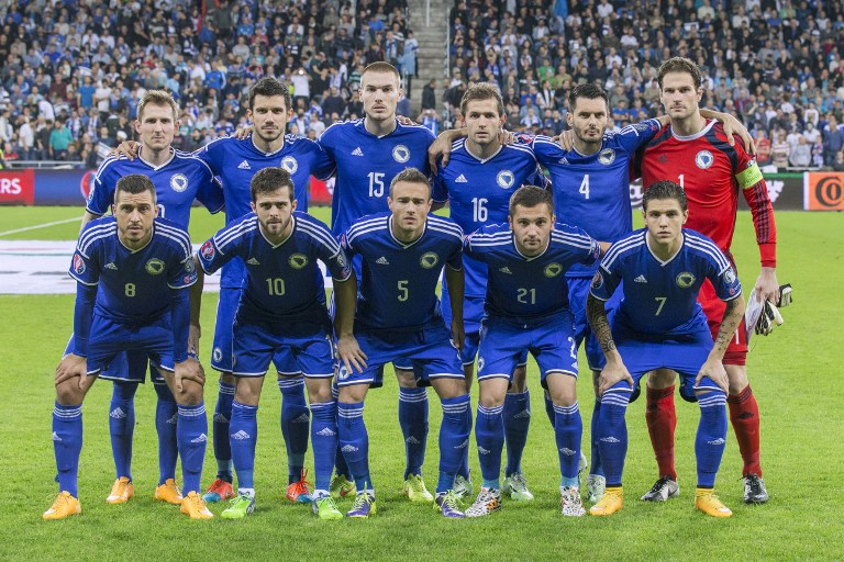 EM 2016 Qualifikation: Die Startelf von Bosnia-Herzegovina gegen Israel im Sammy Ofer Stadium in Haifa am 16.November 2014. AFP PHOTO / JACK GUEZ