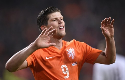 Dutch player Klaas-Jan Huntelaar celebrates after scoring during the Euro 2016 qualifying round football match between the Netherlands and Latvia at the Arena Stadium, on November 16, 2014 in Amsterdam. AFP PHOTO / JOHN THYS